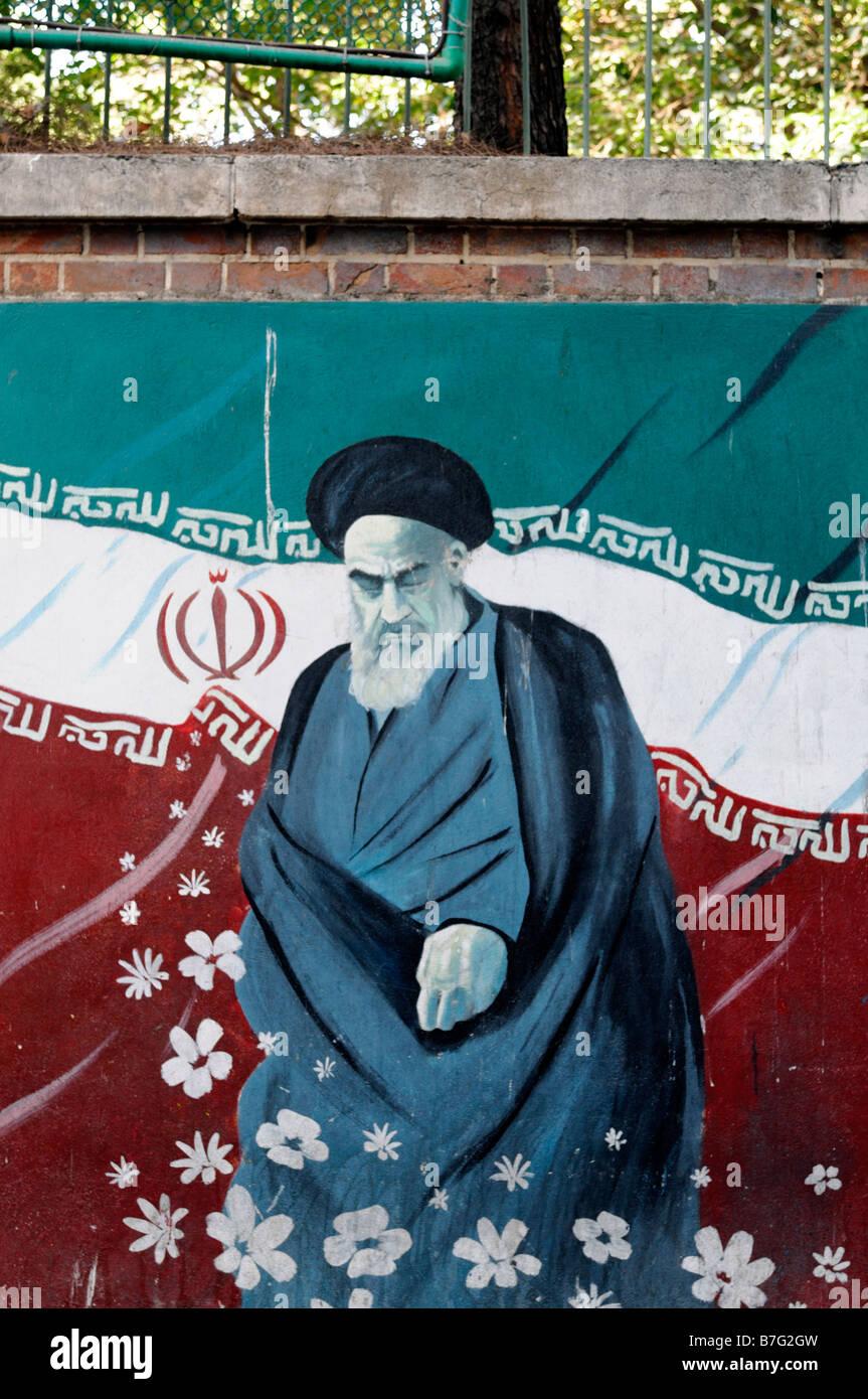 anti american anti-american mural propoganda slogan ayatollah khomeni former US united states embassy tehran implied - Stock Image