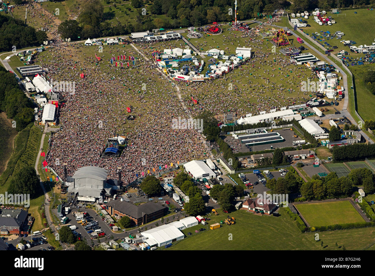 Aerial view of The Isle of Wight Festival Stock Photo