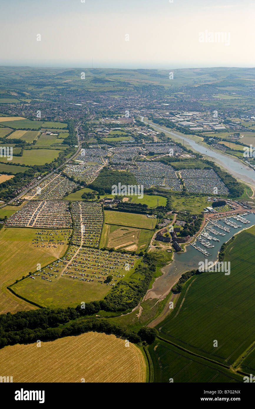 The Isle of Wight festival 2006 from the air Stock Photo