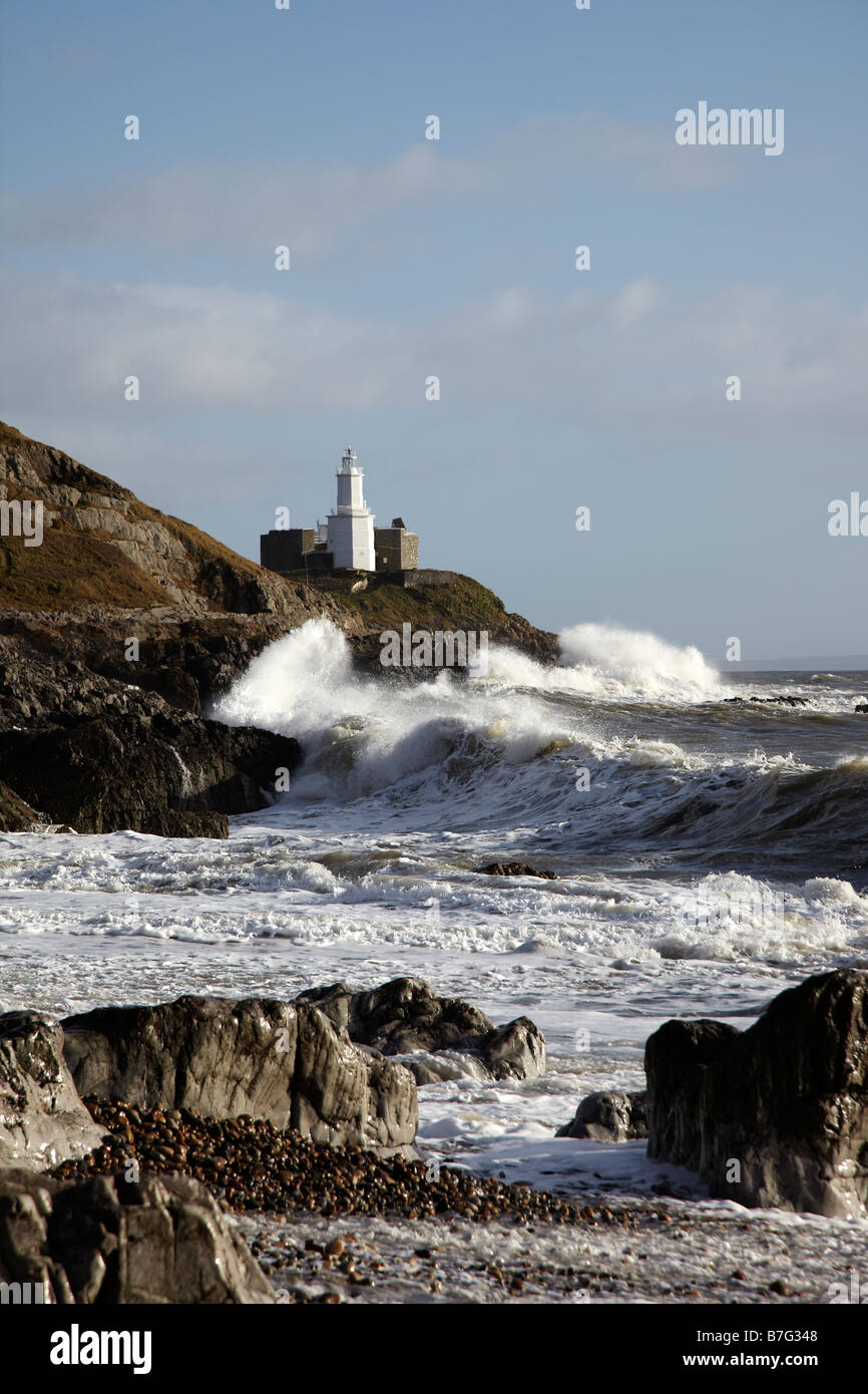 Mumbles Lighthouse during a Storm, Mumbles, Gower Peninsular, Wales, UK - Stock Image