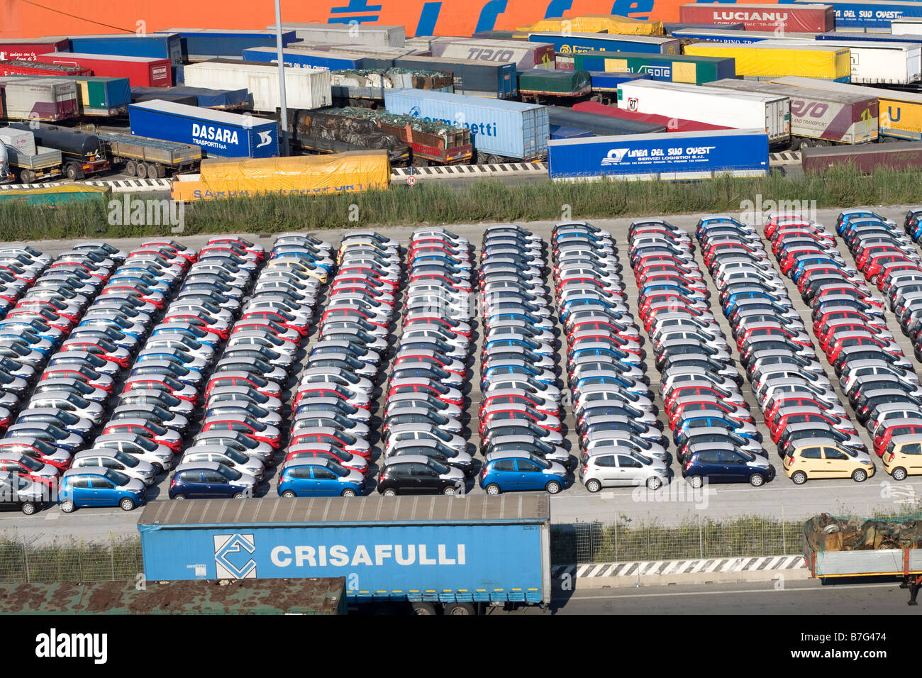 Italian container port with lots of unsold cars Stock Photo ...