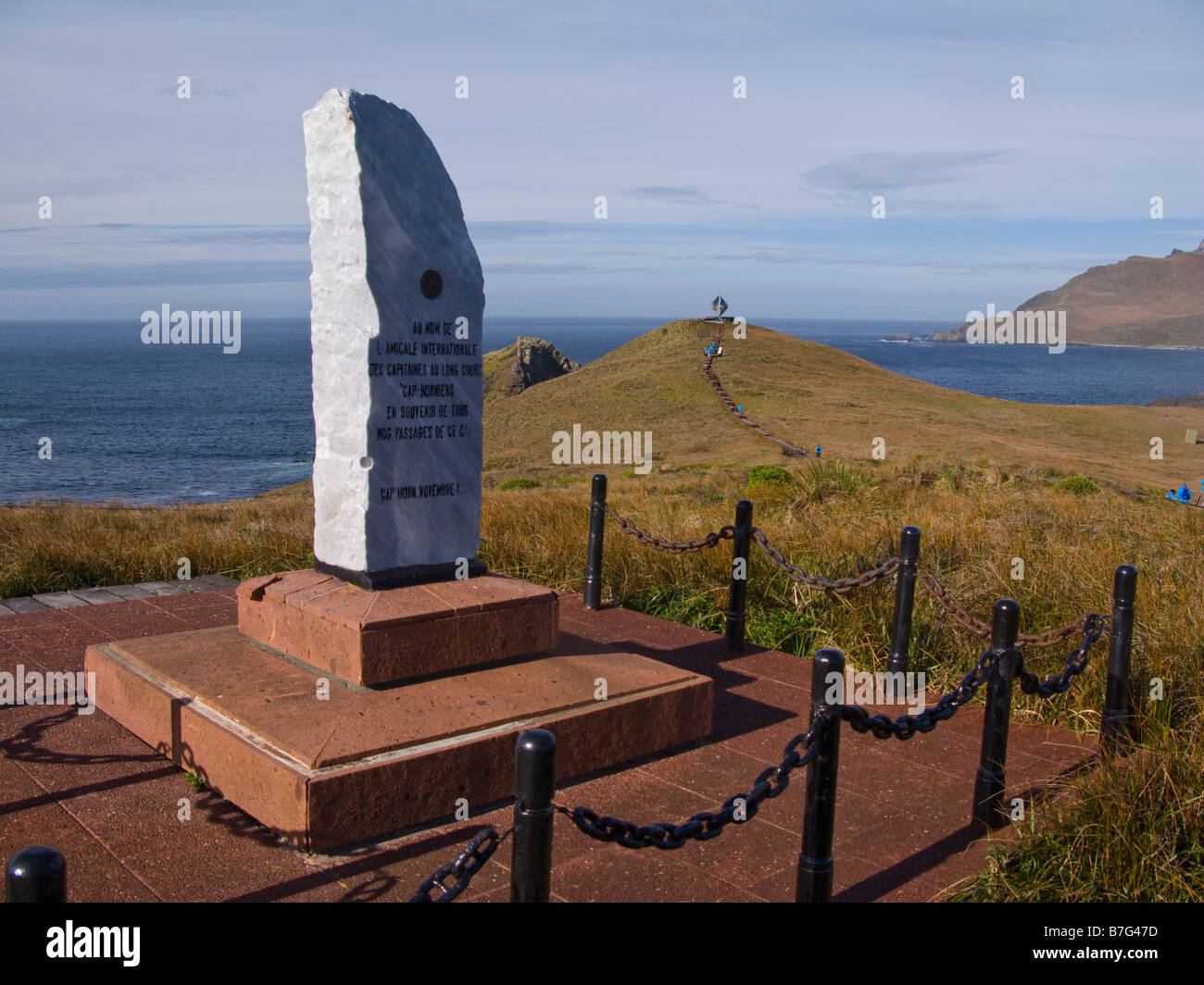 Friendship monument at Cape Horn, Patagonia, Chile, South America - Stock Image