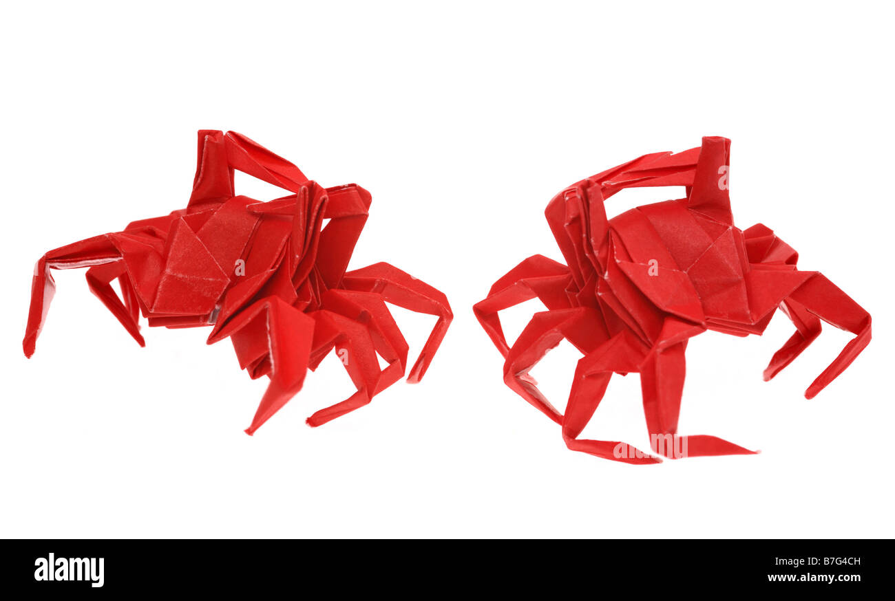 Close-up of red origami crabs - Stock Image