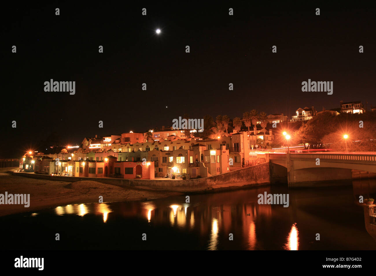 The seaside village of Capitola at night - Stock Image