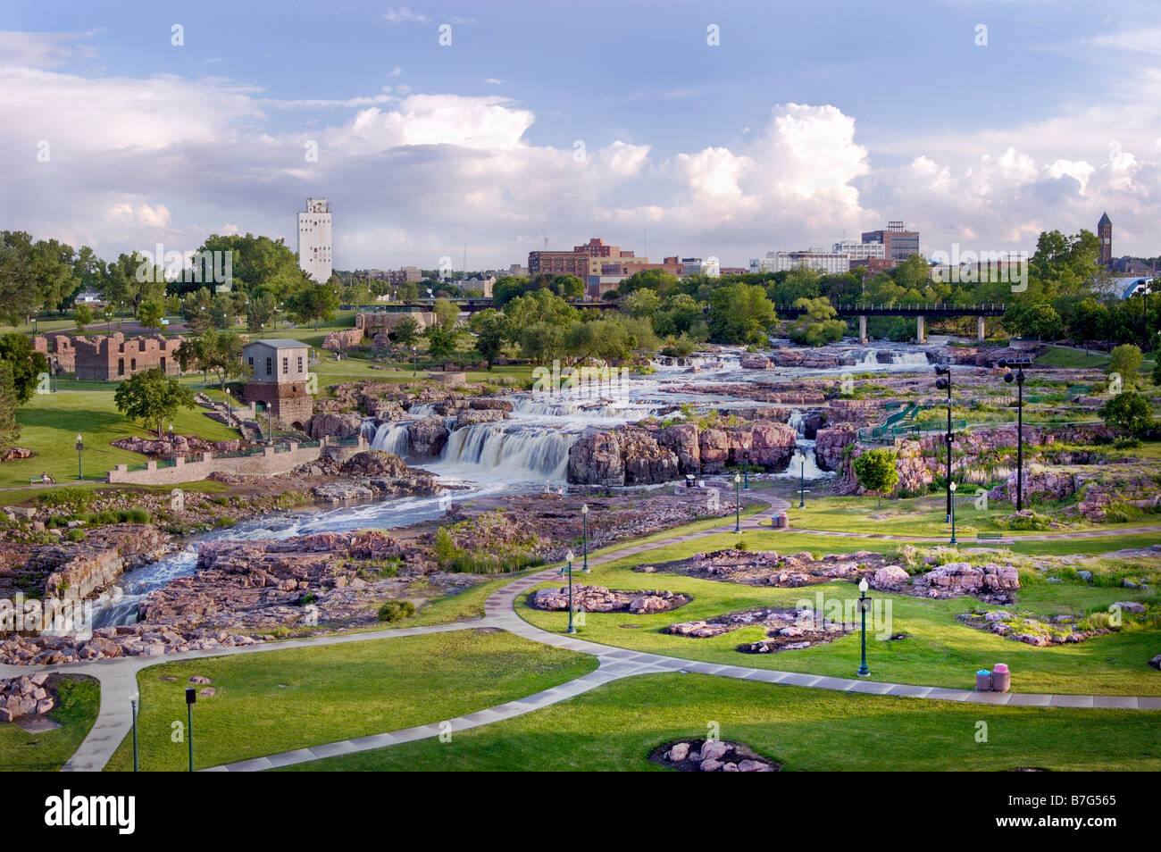 waterfall, Big Sioux River, Sioux Falls, SD - Stock Image