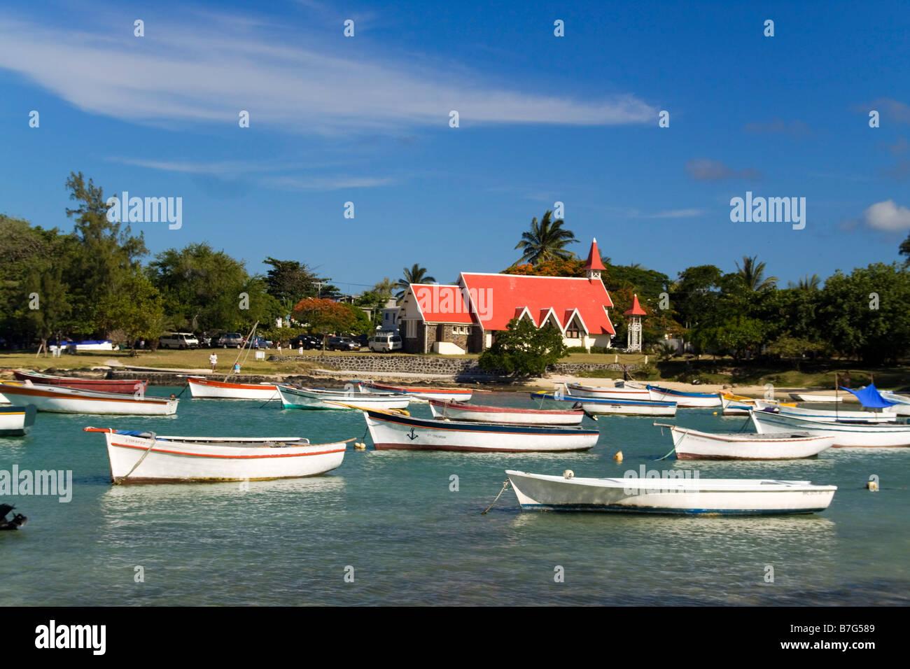 Eglise de Cap Malheureux boats Mauritius Africa - Stock Image