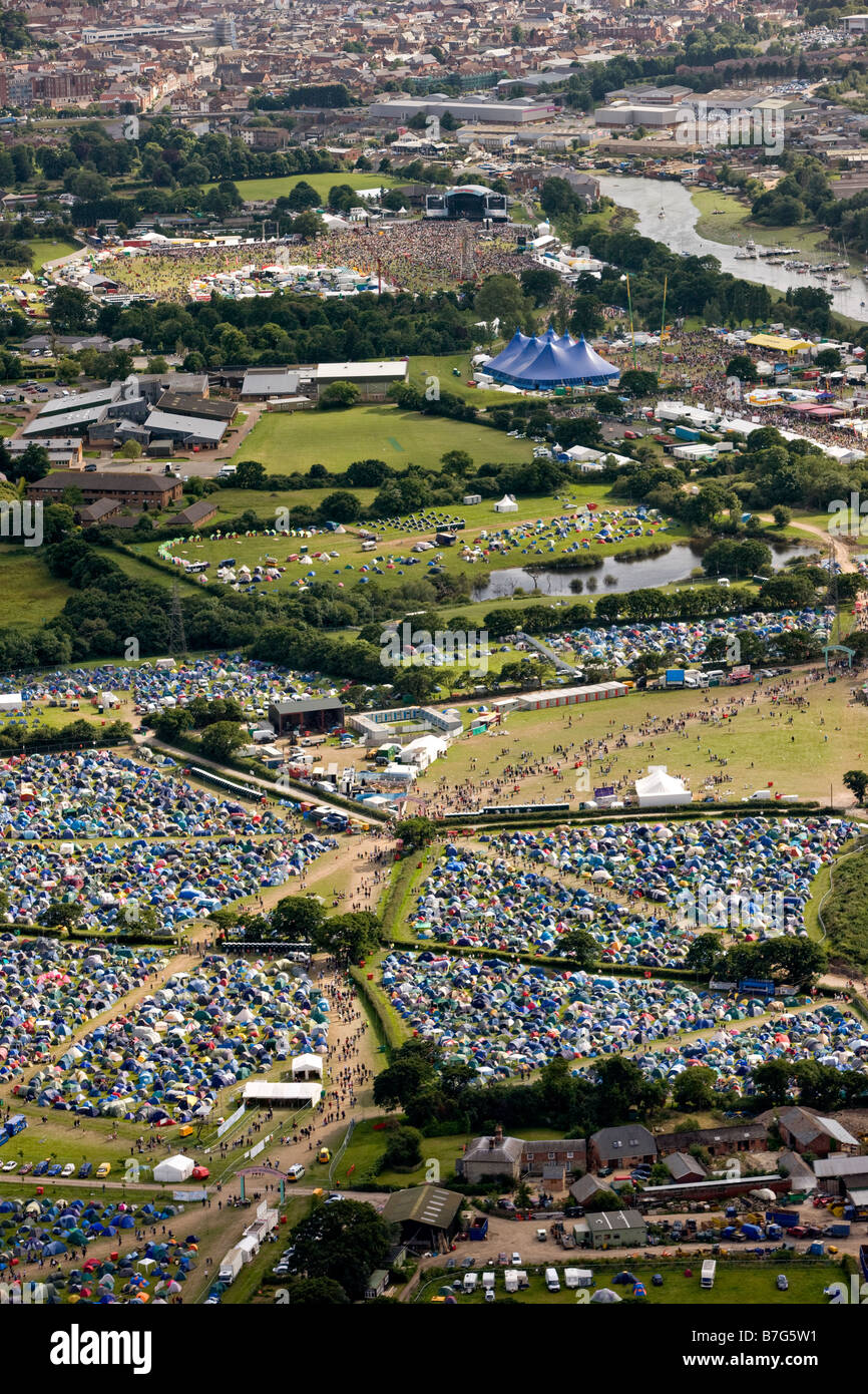 The Isle of Wight Festival from the air Stock Photo