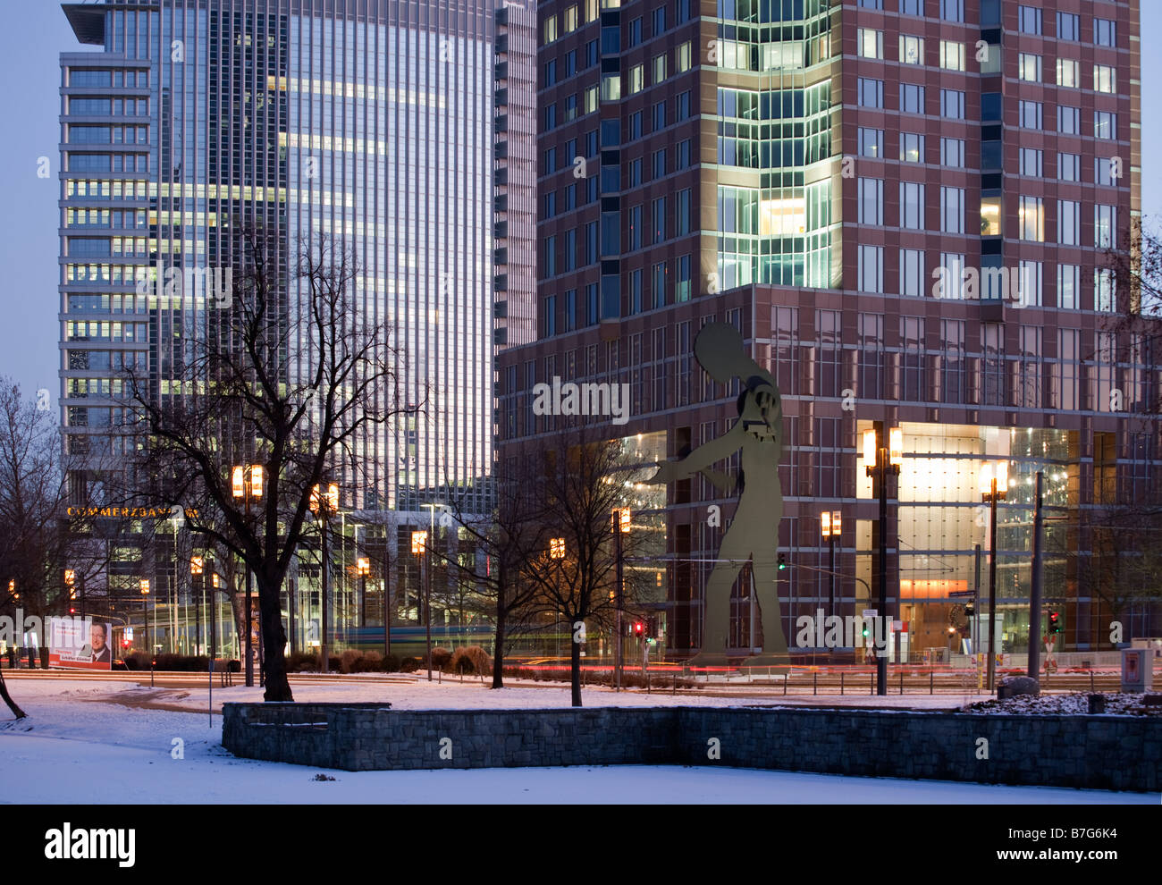 The base of the Messeturm in Frankfurt during winter Stock Photo
