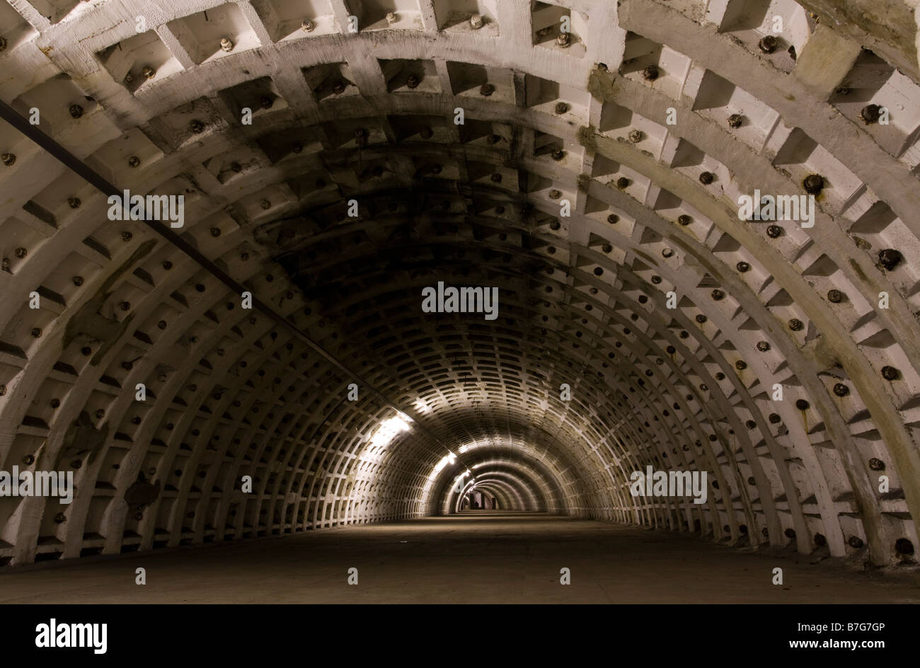Clapham North Deep-Level WW2 air raid shelter. - Stock Image