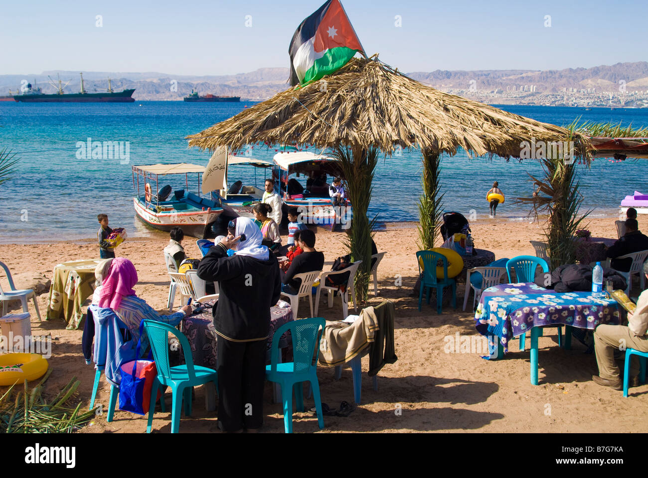 Aqaba beach in Jordan - Stock Image