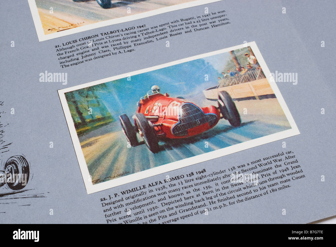 Picture card of J.P.Wimille in a  Alfa Romeo 158 from the Story of Grand Prix Motor Racing issued by Mobile Petroleum - Stock Image