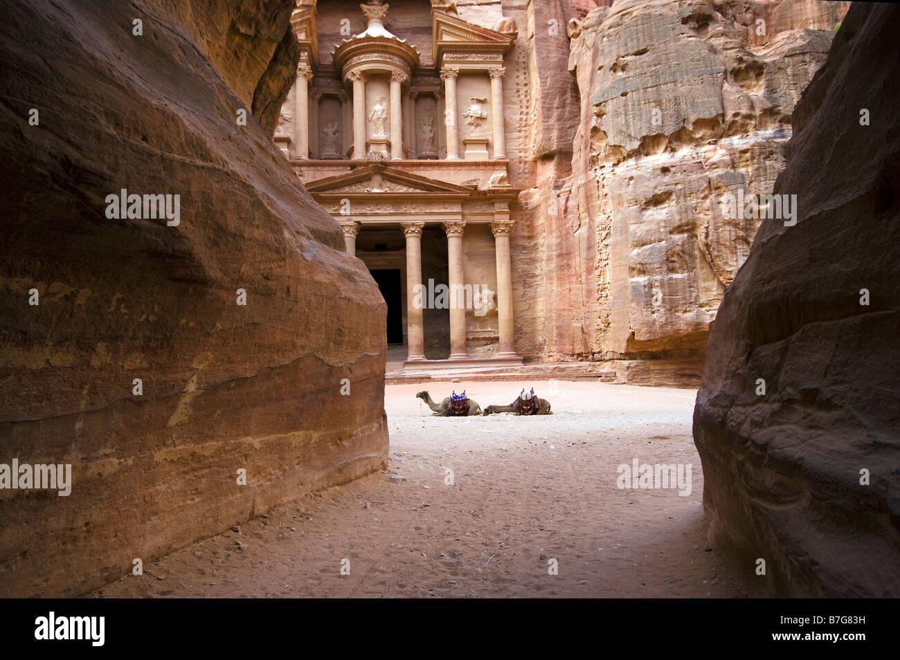 the Treasury Petra Jordan seen from the siq - Stock Image
