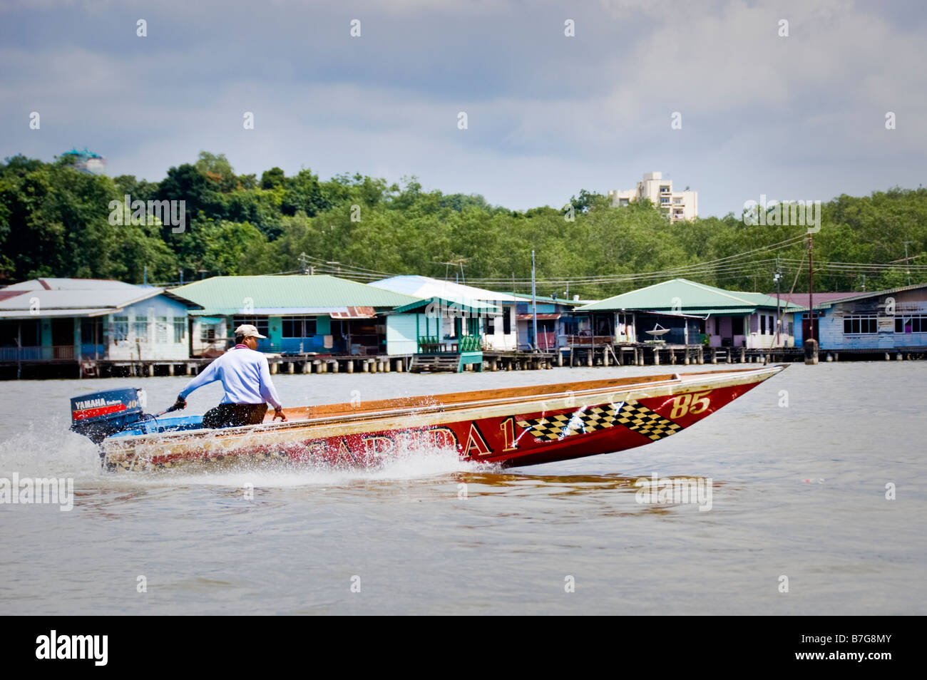 Speedboat on the River Brunei in Bandar Seri Begawan - Stock Image
