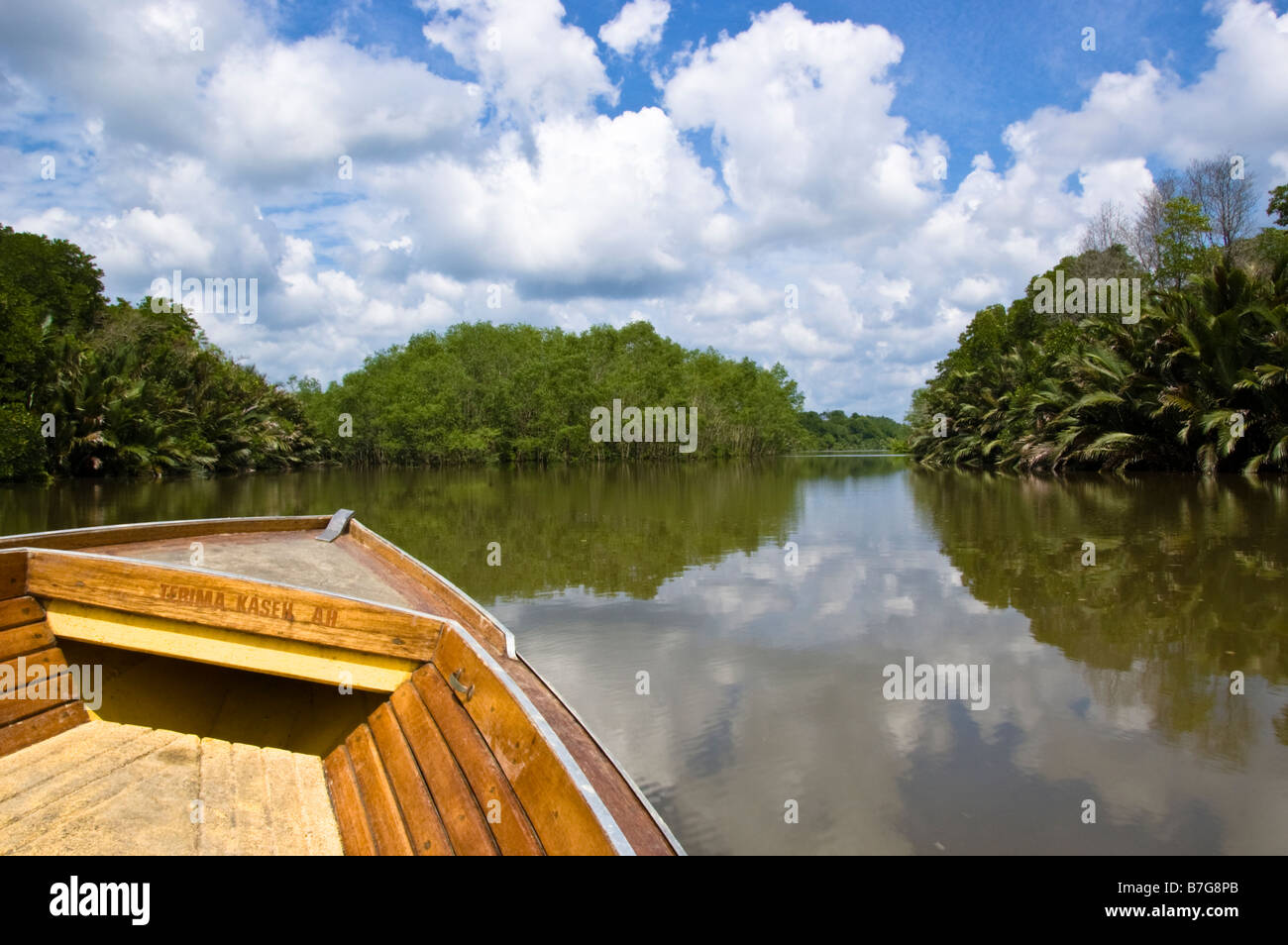 Boat on tour of Brunei river and Kampung Ayer water village in Bandar Seri Begawan, Brunei - Stock Image