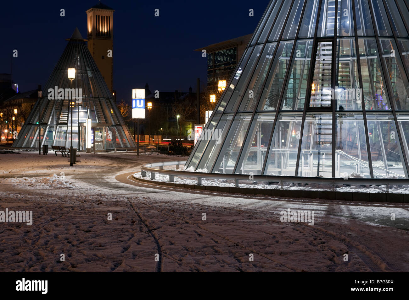 The entrance to Frankfurt s Festhalle Messe U Bahn Station Stock Photo