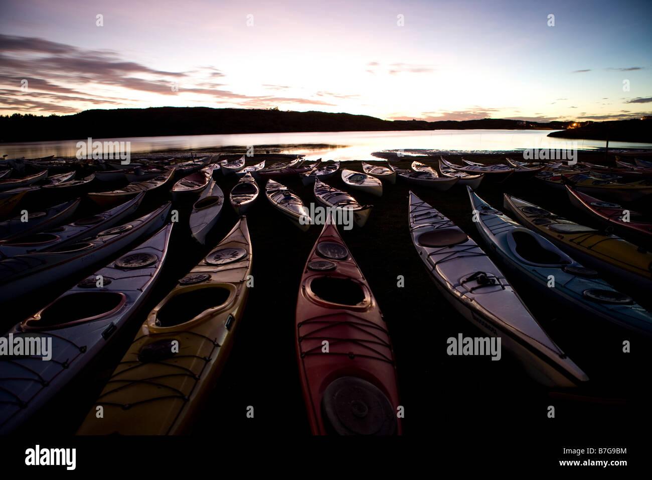kayaks in orust arcipelago - Stock Image