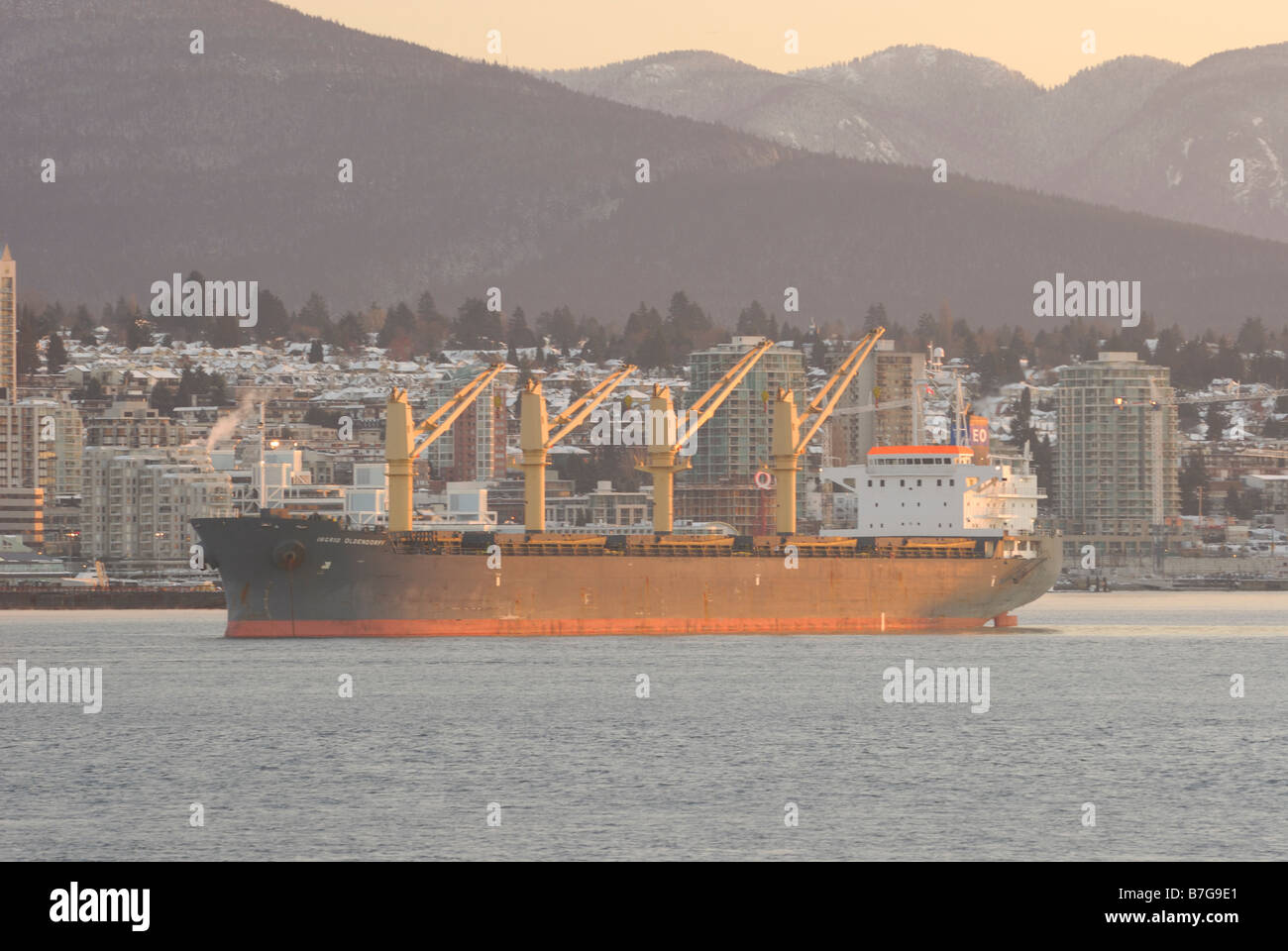 Freight anchored in the inner harbor of Vancouver - Stock Image