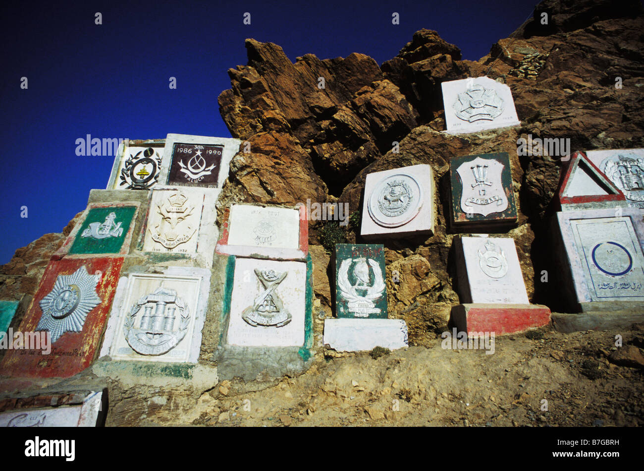 Regimental Insignia on roadside cliff at Khyber Pass in Pakistan - Stock Image