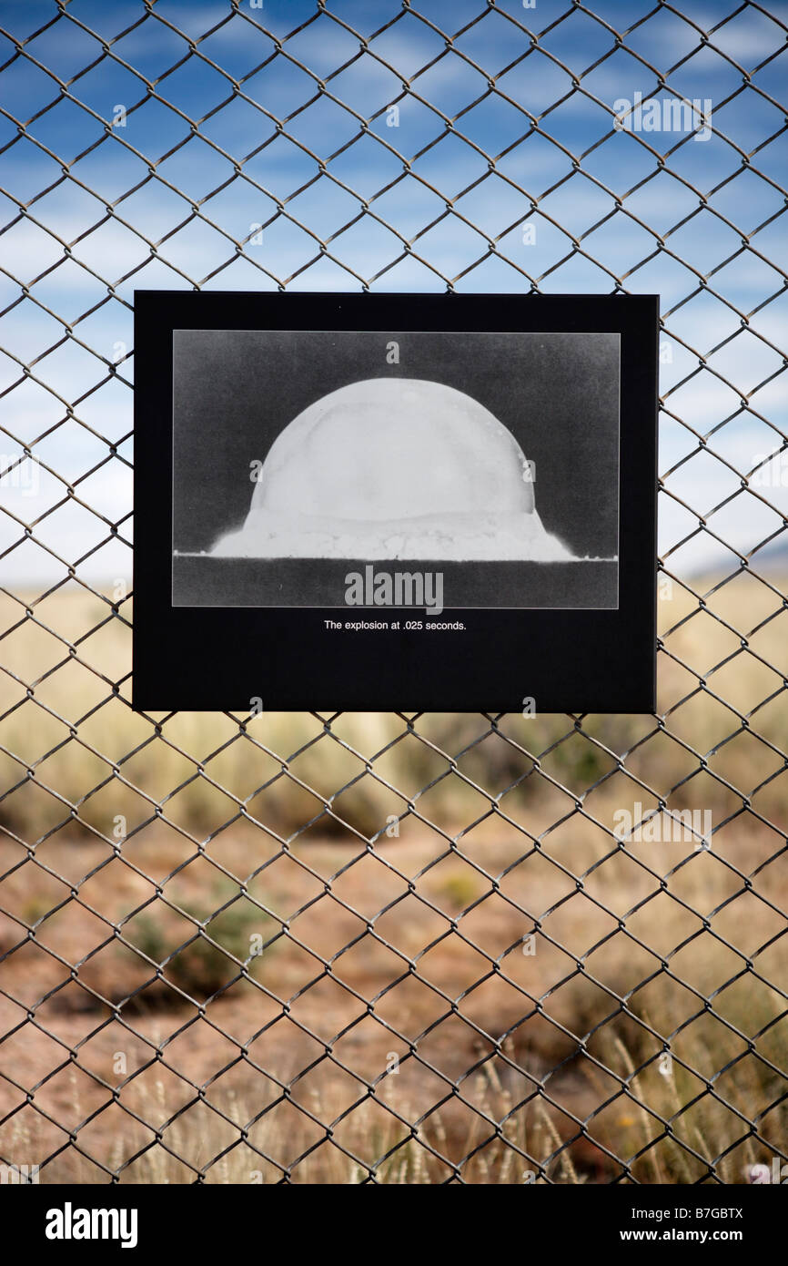 A photograph on display at Trinity Site, New Mexico showing the world's first atomic explosion on July 16, 1945. - Stock Image