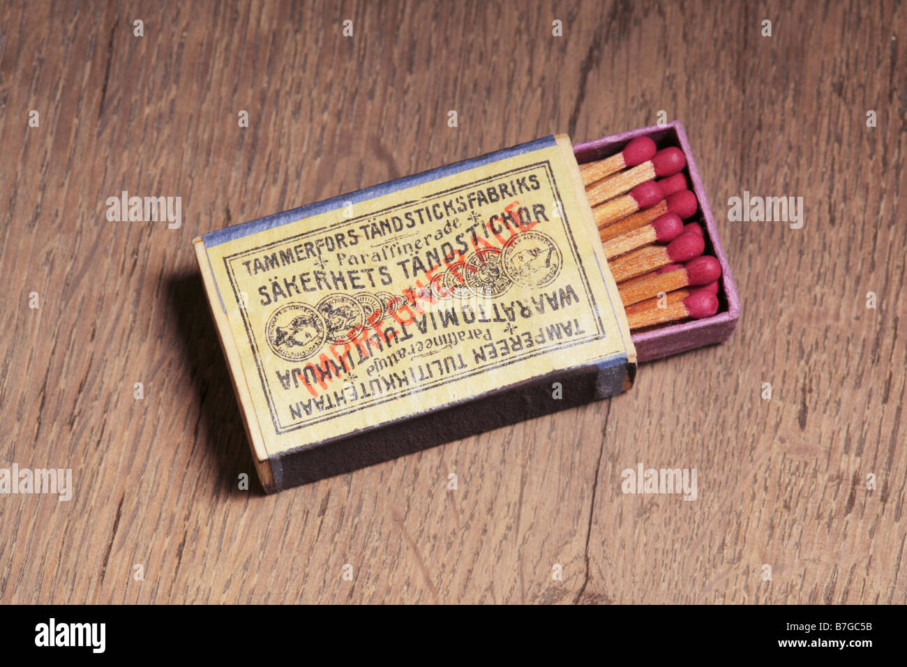 Old box of safety matches manufactured in Tampere Finland in 19th century Stock Photo