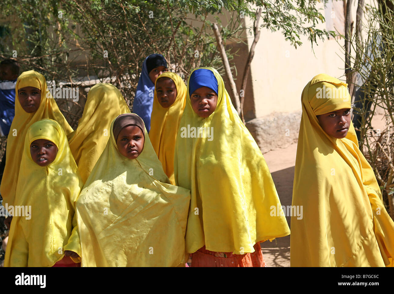 School girls in yellow hijabs Hargeisa Somaliland - Stock Image