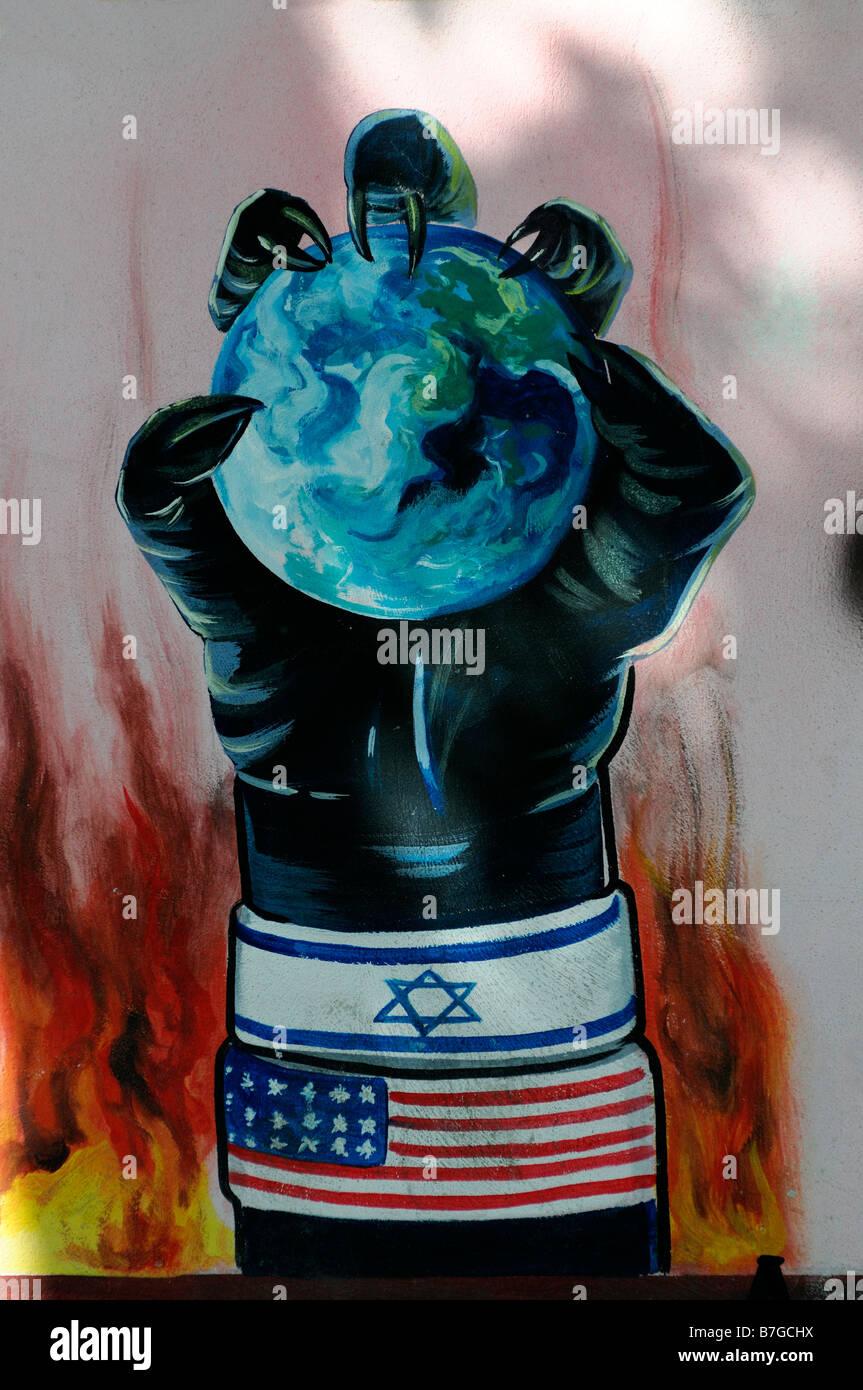 anti american anti-american semitic jew semitism mural propaganda slogan former US united states embassy tehran - Stock Image