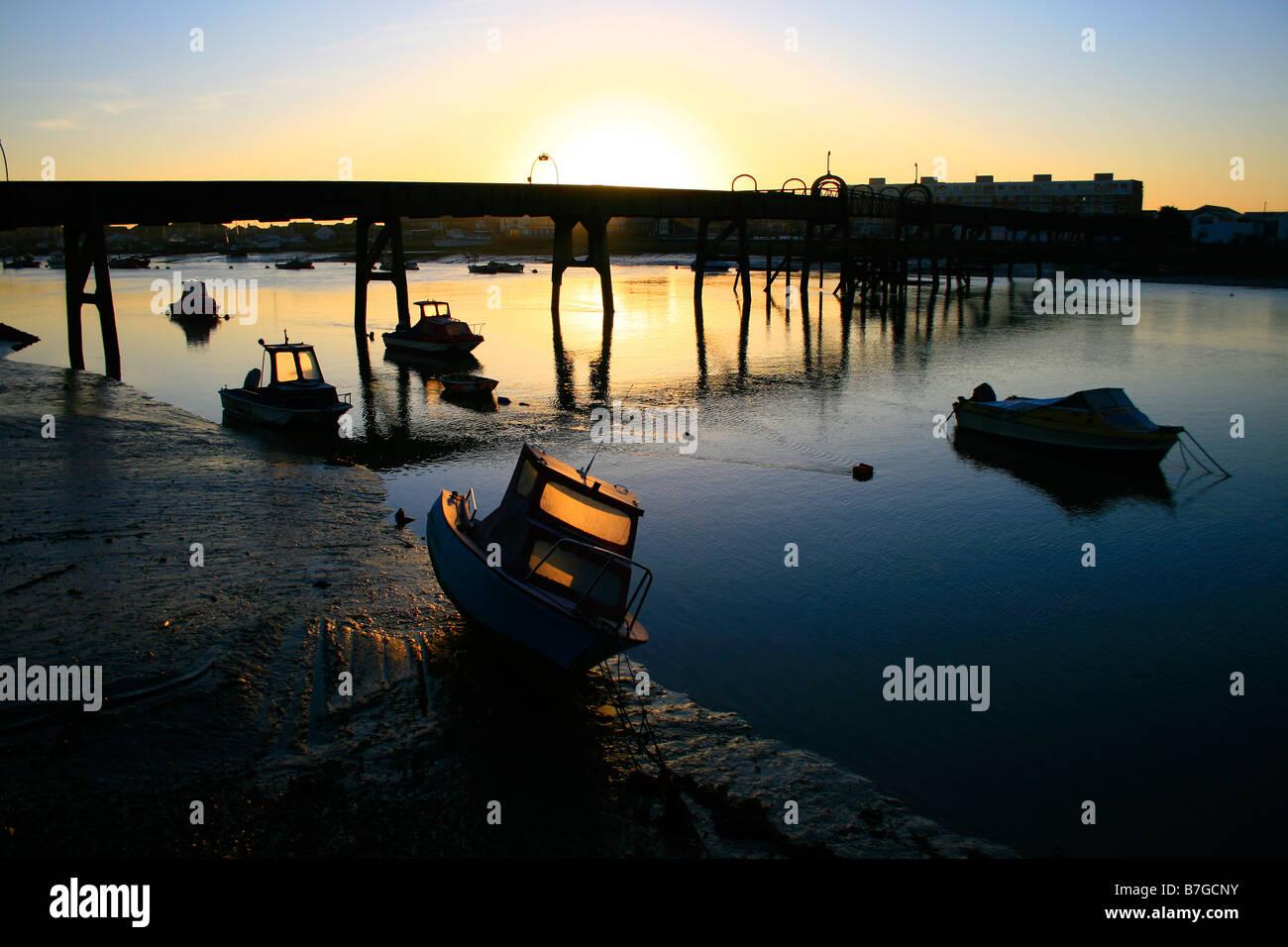 sunrise river adur bridge boats launches Stock Photo