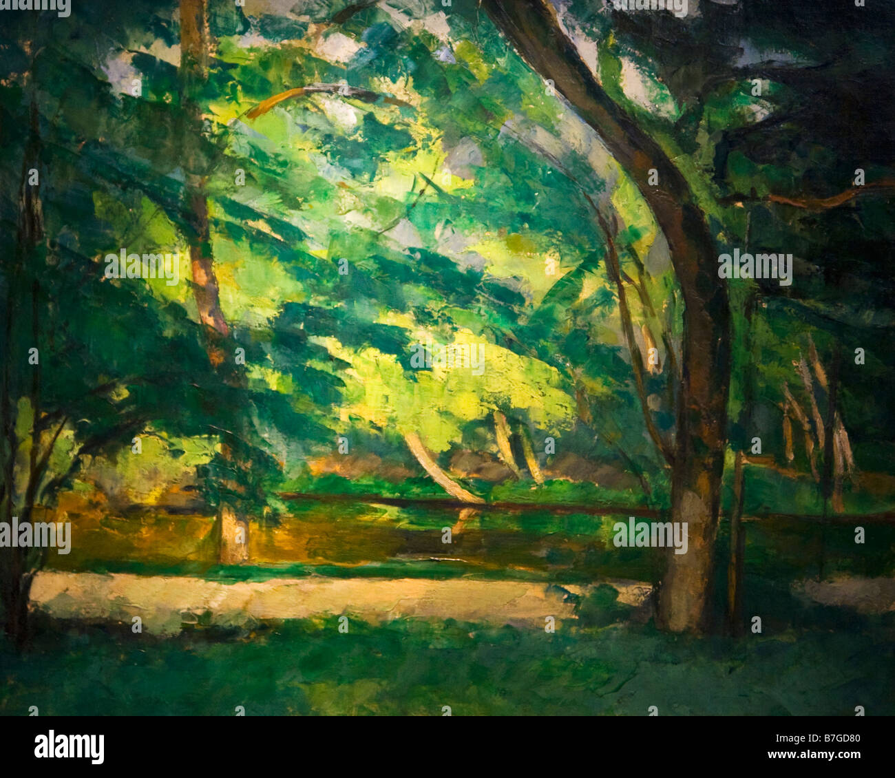 'Etang des Soeurs Osny' painted by Paul Cezanne circa 1875 Courtauld Institute Galleries London England - Stock Image