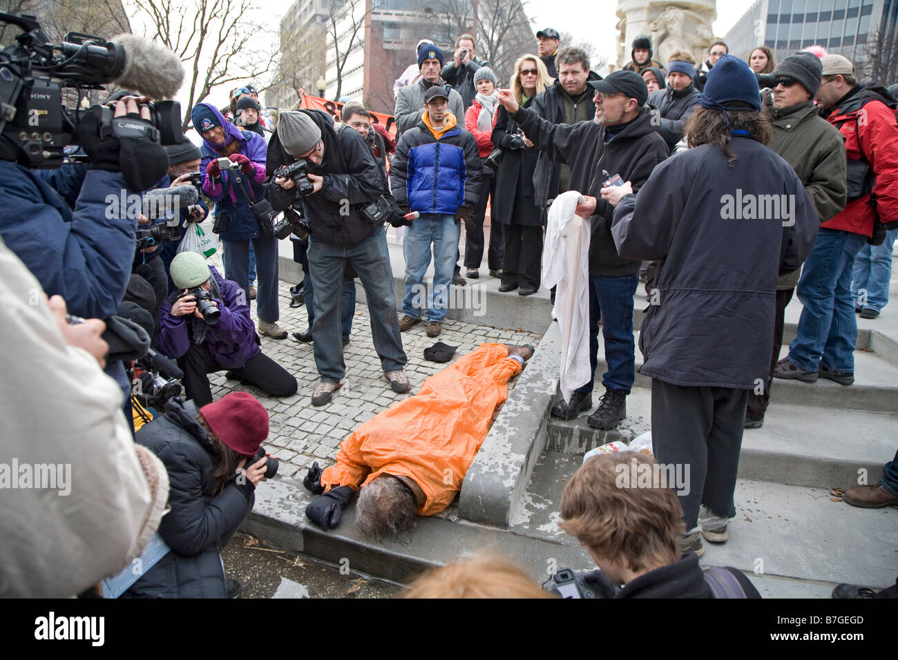 Anti-Torture Activists Demonstrate Waterboarding - Stock Image
