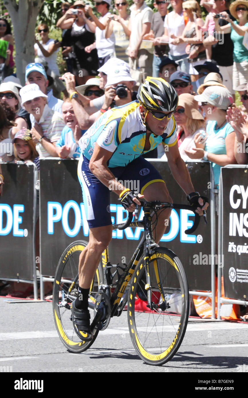 Lance Armstrong from the Astana team racing in stage 6 of the Tour Down Under in Adelaide Australia on January 25 - Stock Image