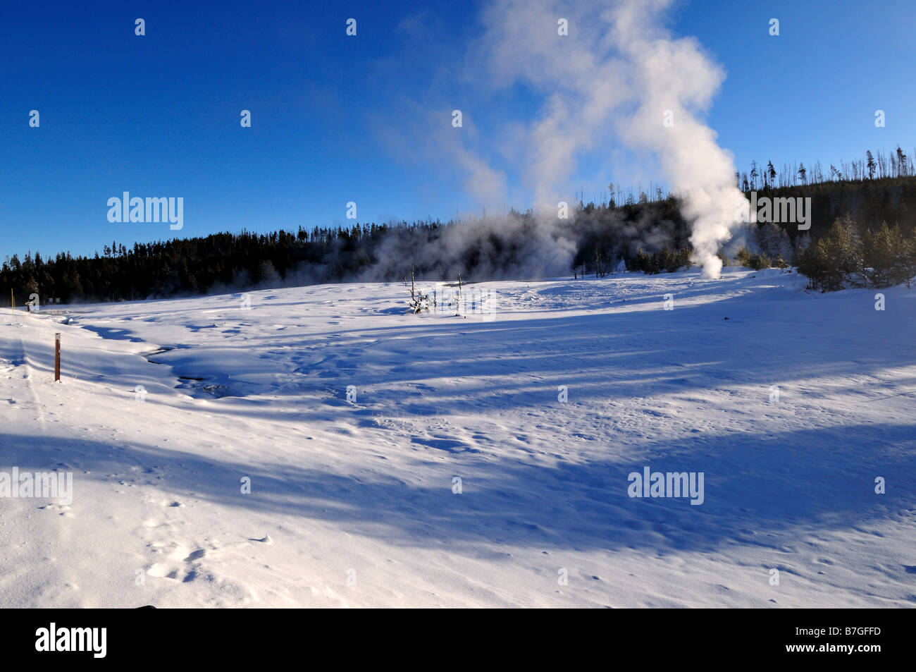 Steam vent in winter. The Yellowstone National Park, Wyoming, USA. - Stock Image