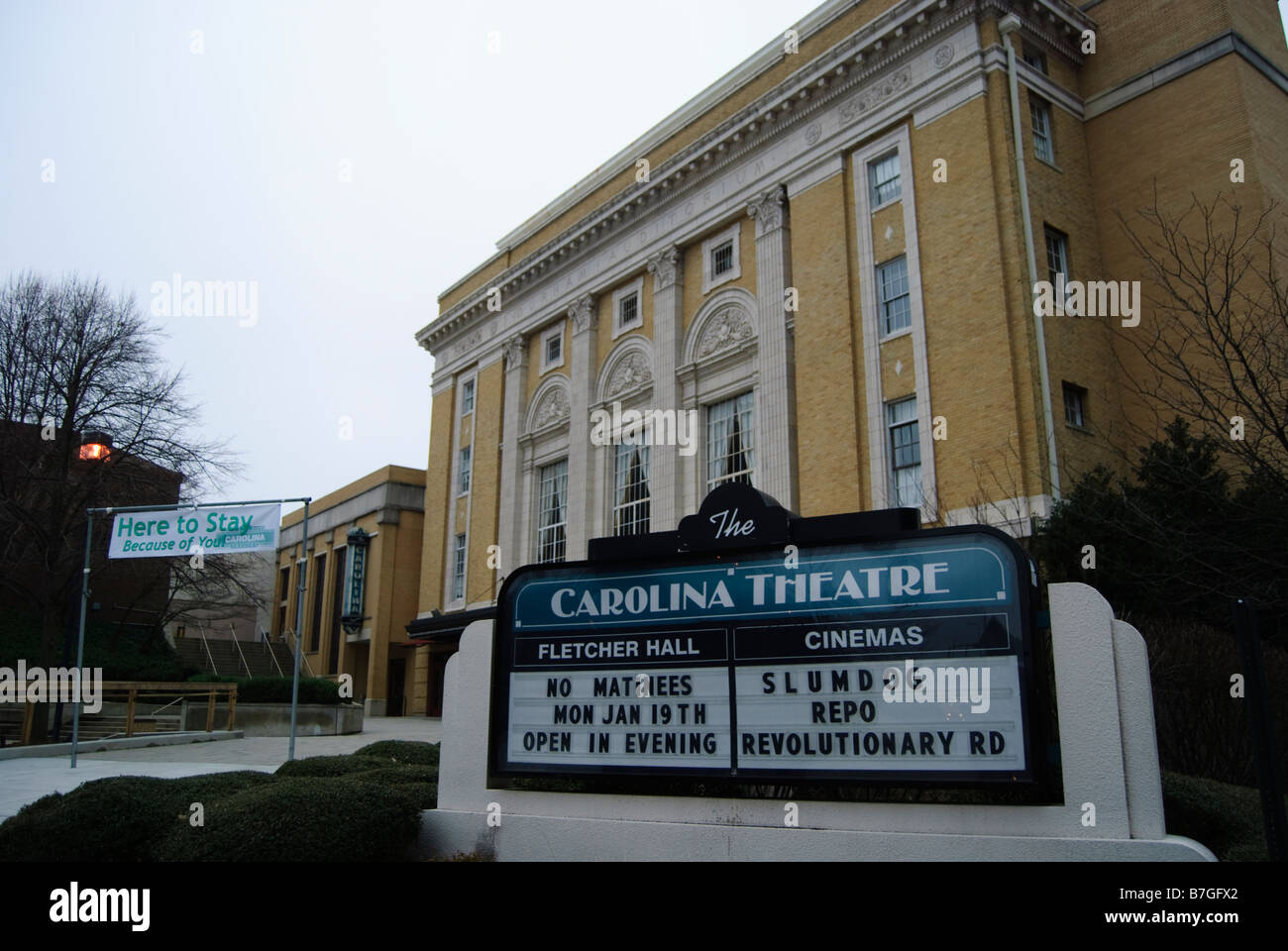 Carolina Theatre in downtown Durham North Carolina - Stock Image