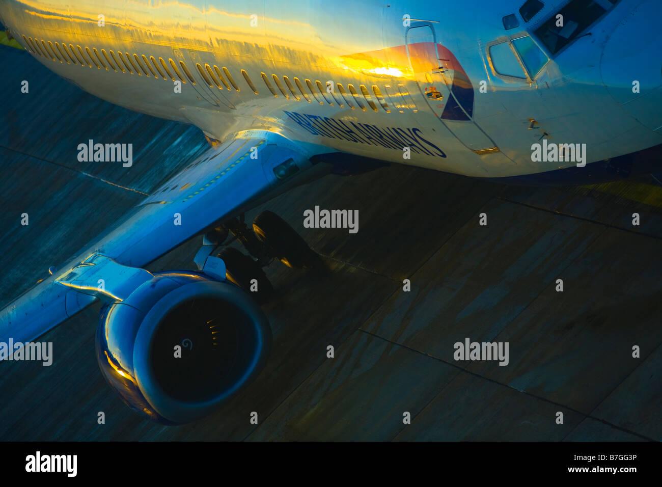 British Airways jet logo fuselage in evening sun Gatwick Airport London England UK GB - Stock Image