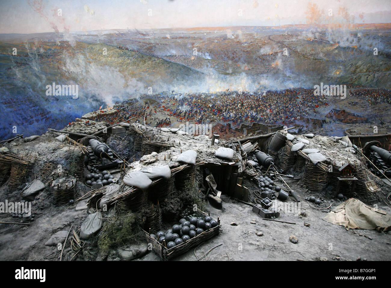 PANORAMA BUILDING PAINTING SEVASTOPOL UKRAINE SEVASTOPOL CRIMEA UKRAINE 29 April 2008 - Stock Image