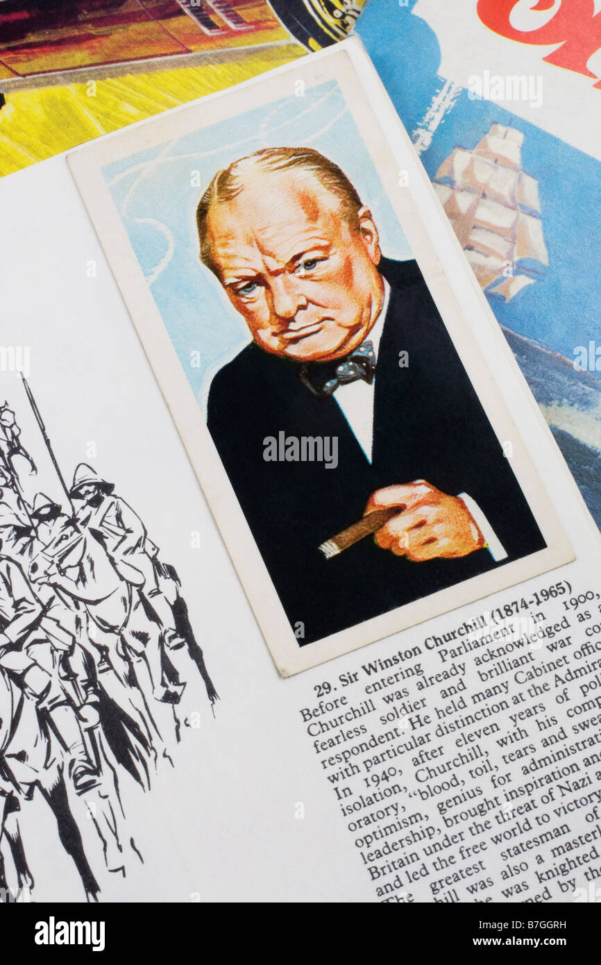 Picture card of Sir Winston Churchill in the Brooke Bond PG Tips picture card album Famous People issued 30th June Stock Photo