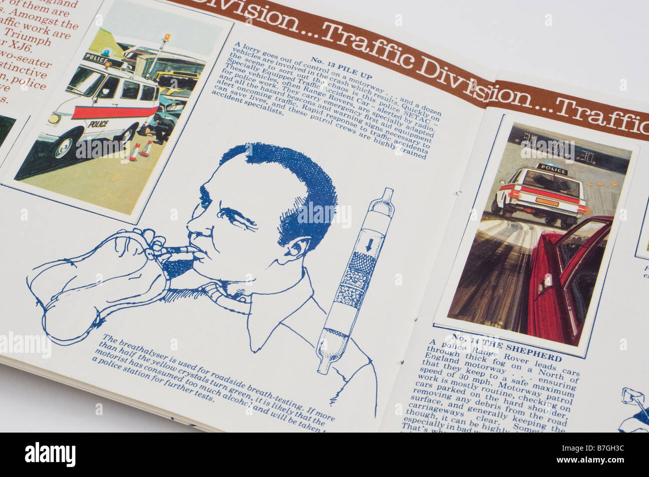 Breathalyser Picture Card and Illustration from the Brooke Bond PG Tips picture card album Police File issued 9th - Stock Image