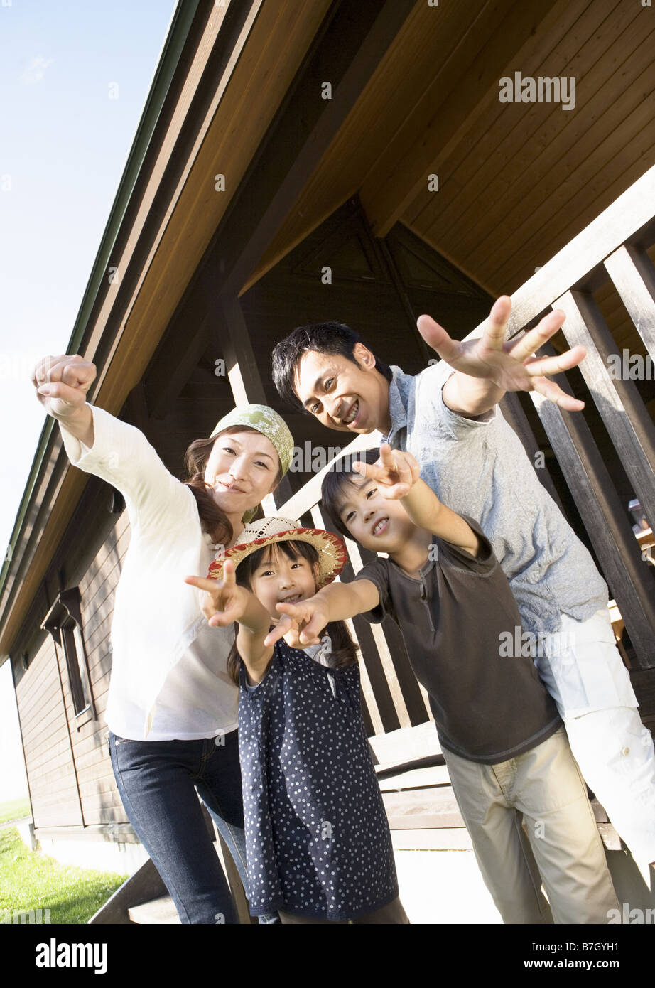 Family with poses - Stock Image