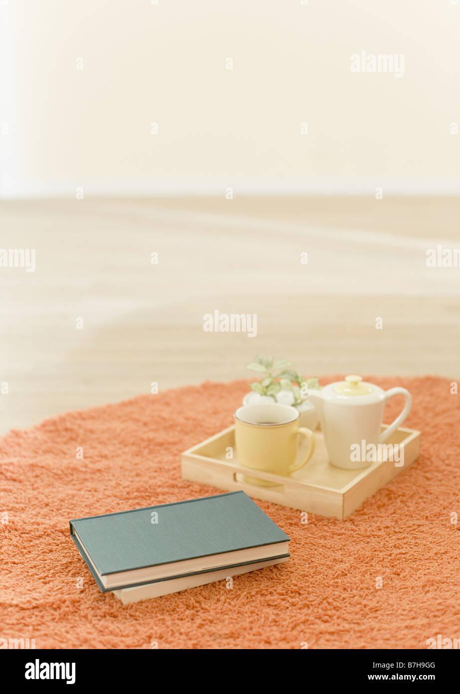 Tea utensil and books - Stock Image