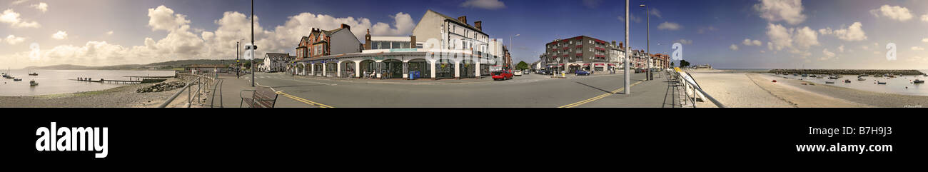 a 360 degree panoramic of rhos on sea encompassing the local shops and the beach - Stock Image