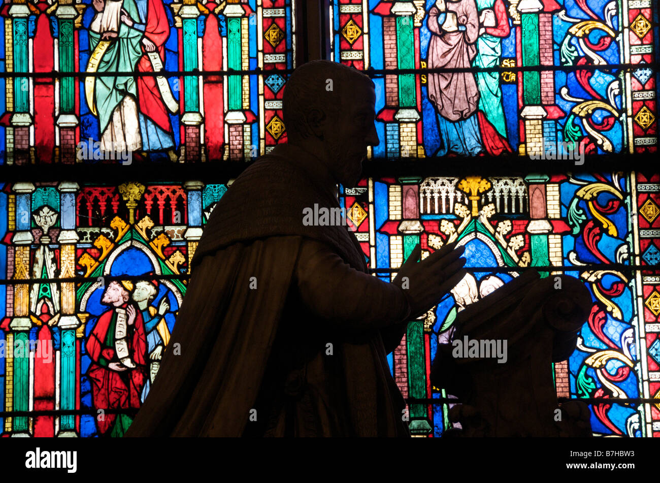 Stained glass window of Notre Dame de Paris. France - Stock Image