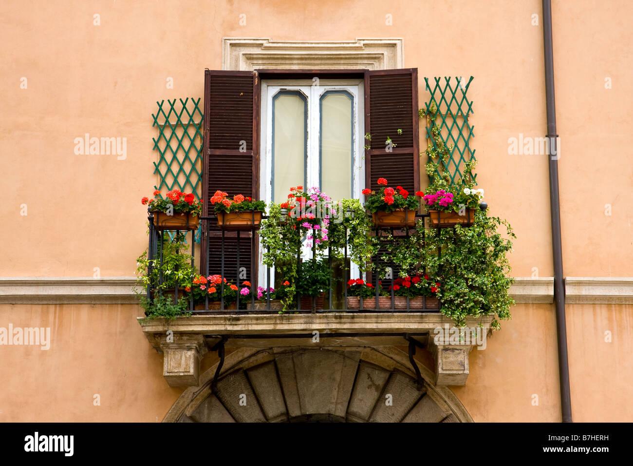 Italy Rome Balcony Flowers Stock Photos Amp Italy Rome