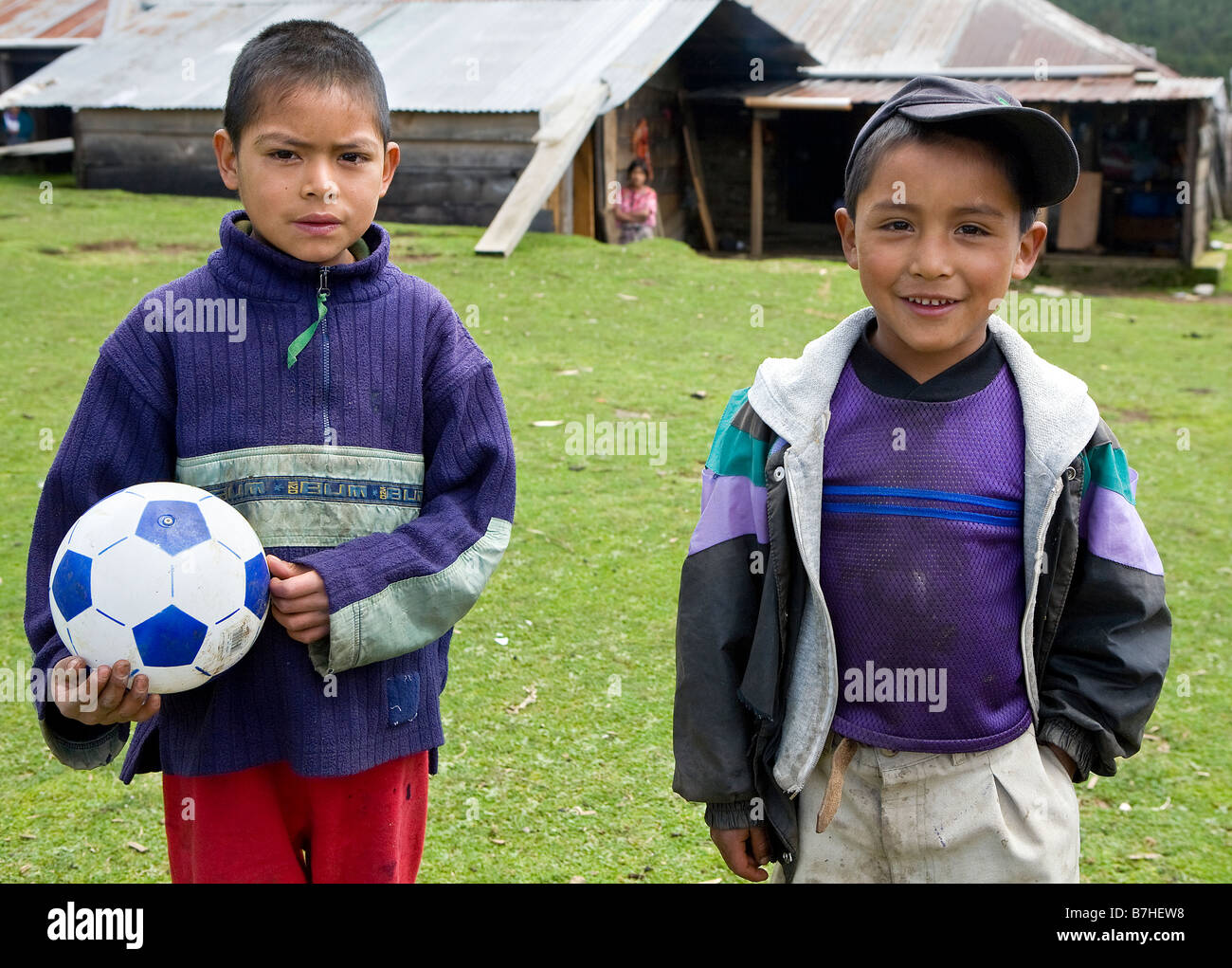 Two young boys in their village in Chuatuj Western Highlands Guatemala - Stock Image