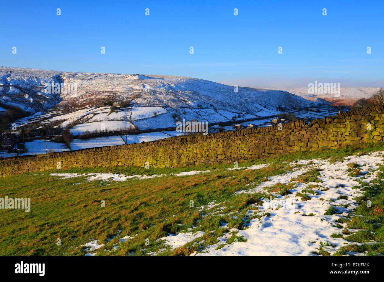 Winter Upper Colne Valley towards Pule Hill, Marsden, West Yorkshire, England, UK. - Stock Image