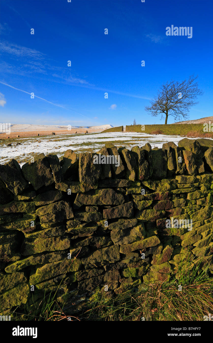 Winter in the Upper Colne Valley towards March Hill, Marsden, West Yorkshire, England, UK. - Stock Image