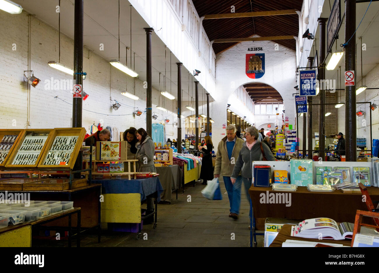 The Shambles indoor market in the typical English market town of Devizes Wiltshire England UK - Stock Image