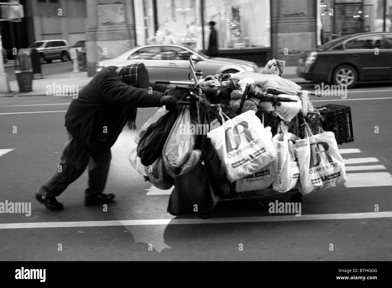 A Bag Lady in New York. - Stock Image