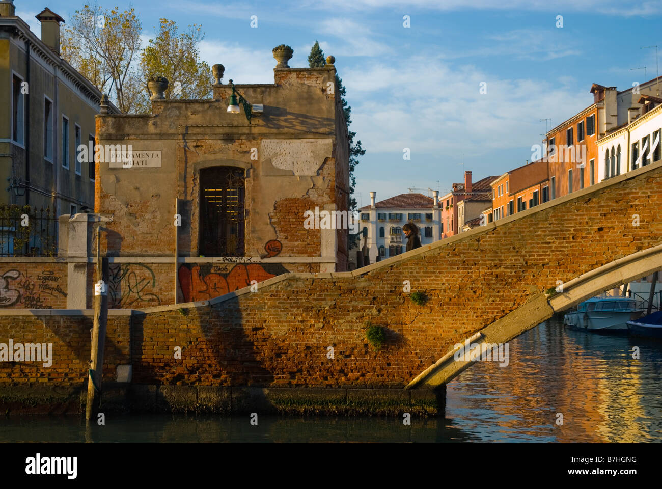 Fondamenta Briati canal in Dorsoduro district of Venice Italy Europe - Stock Image