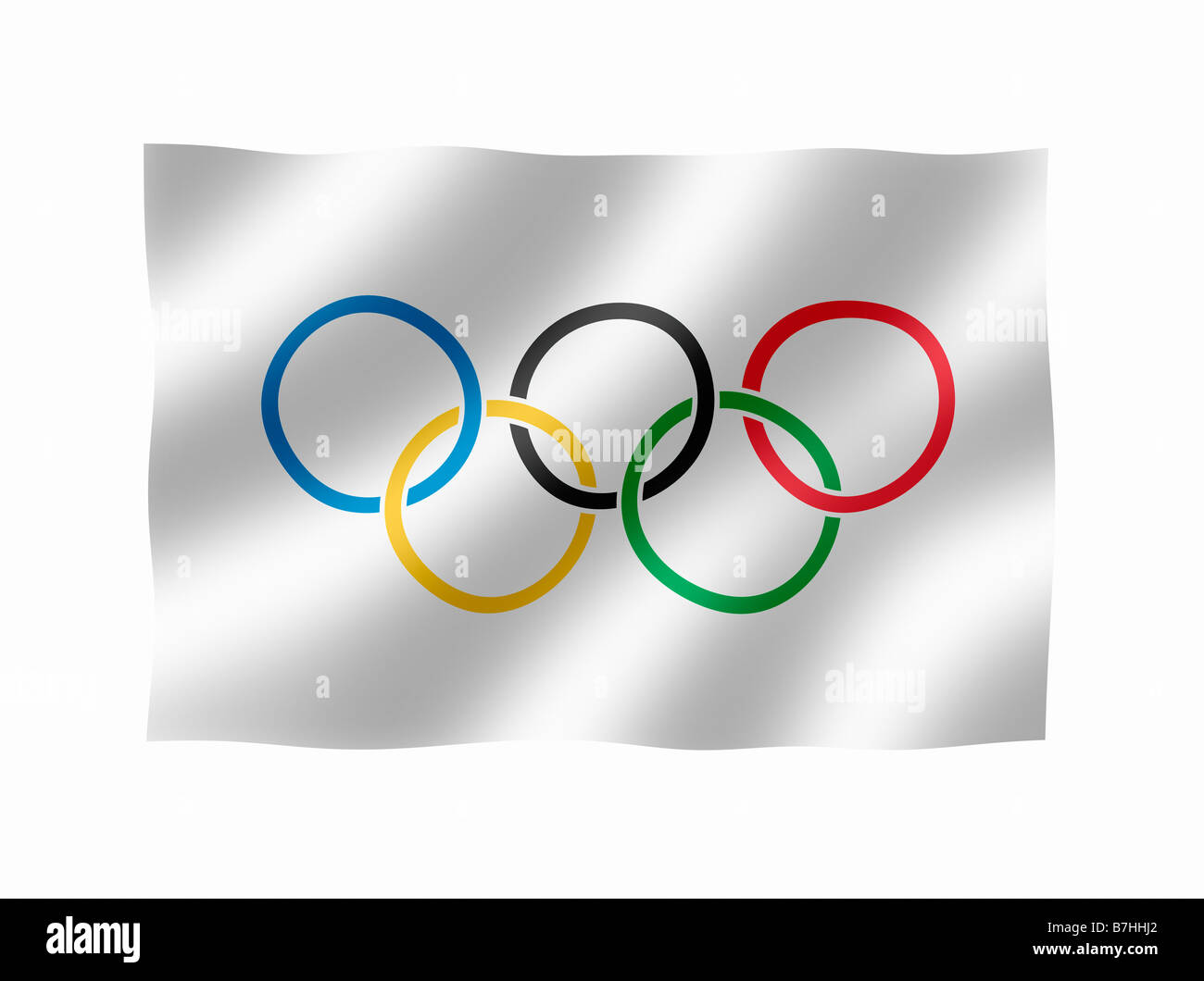 Olympic Flag as used by the International Olympic Commitee to promote the Olympic Games - Stock Image