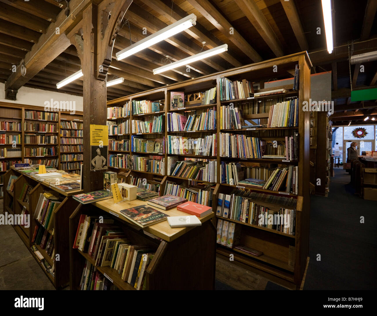 Hay on Wye in Welsh borders secondhand book and antique centre of interest Booths book store interior - Stock Image