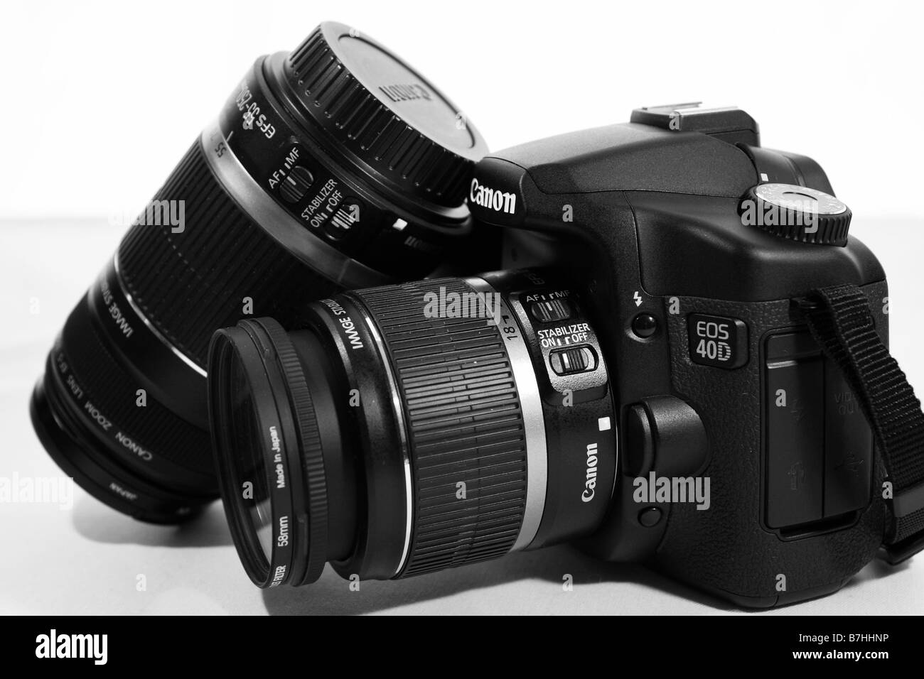A close of photograph of a Canon 40D SLR Digital Professional Camera and Lens - Stock Image